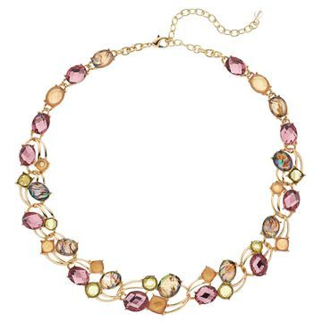 Napier Colorful Link Statement Necklace