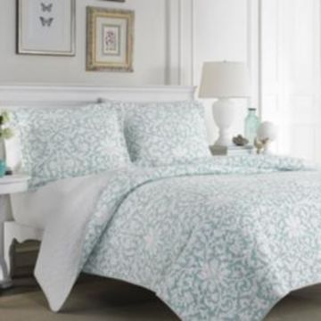 Laura Ashley Full/Queen Mia Soft Blue Quilt Set Bedding