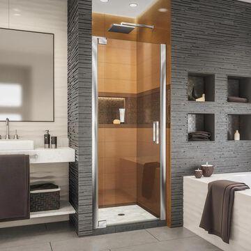 DreamLine Elegance-LS 72-in H x 32-1/4-in to 34-1/4-in W Frameless Pivot Chrome Shower Door (Clear Glass) | SHDR-4332000-01