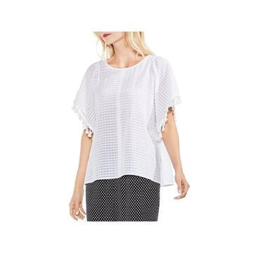 Two by Vince Camuto Womens Blouse Tassel Sleeve Textured Stripe