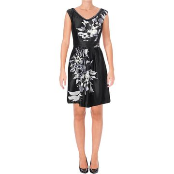 Ellen Tracy Womens Satin V-Neck Party Dress