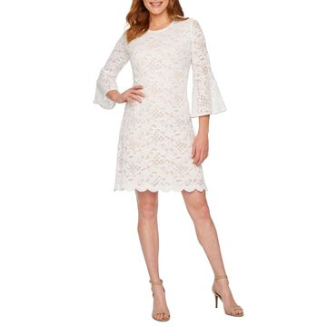 Ronni Nicole 3/4 Bell Sleeve Lace Sheath Dress