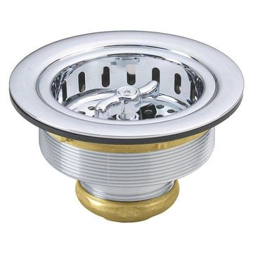 Wing Nut Style Large Kitchen Basket Strainer, Polished Chrome
