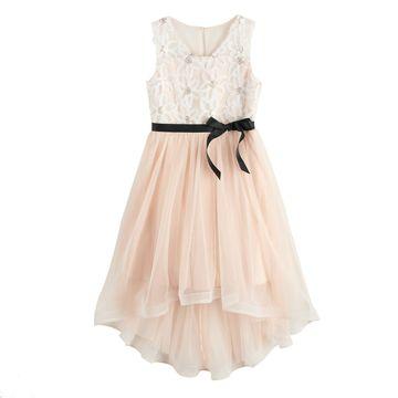 Girls My Michelle Hi Low Wire Hem Dress
