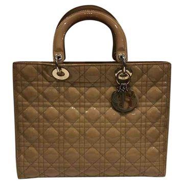 Dior Lady Dior Beige Patent leather Handbag