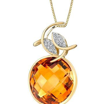 Oravo 14k Yellow Gold Citrine Diamond Pendant Checkerboard Cut 12.41 carat
