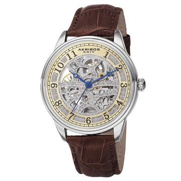 Akribos XXIV Men's Automatic Skeletal Dial Arabic Numeral Markers Leather Brown Strap Watch (Brown)