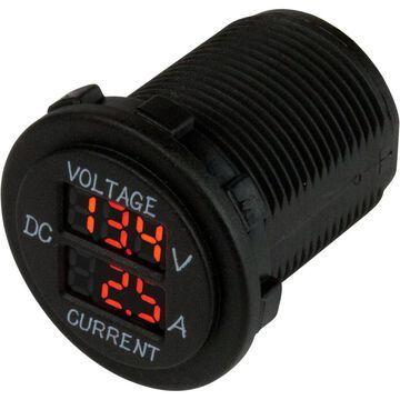Sea-Dog 421625-1 6-30V Round Voltage & Amp Meter - 0 to 10 amp