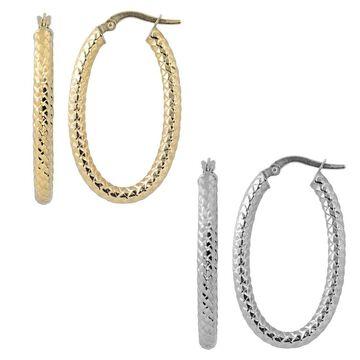 Fremada Italian 14k Gold Diamond-cut Oval Hoop Earrings (yellow gold or white gold)