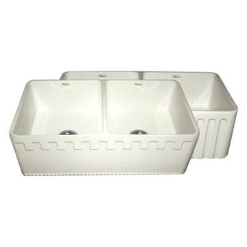 Reversible Series Double Bowl Fireclay Sink, Biscuit