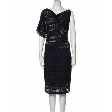 Lace Pattern Midi Length Dress Blue