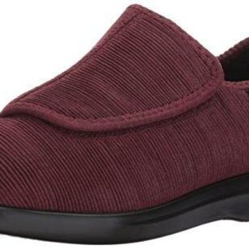 Propet Women's Cush 'N Foot Slipper, Merlot Corduroy, 9.5 Medium