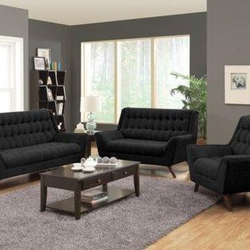 Benzara BM69669 Contemporary Sofa, Black