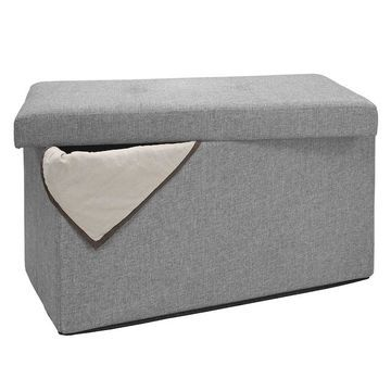 Simplify Linen Look Double Folding Ottoman