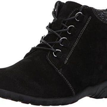 Propet Women's Delaney Ankle Bootie,Black Suede,6.5 Wide