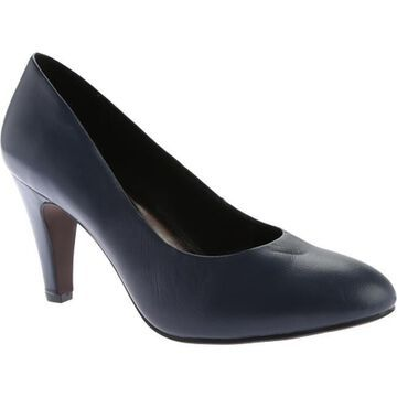 Beacon Shoes Women's Janice Pump Navy Leather