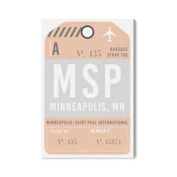 "Oliver Gal Minneapolis Luggage Tag Canvas Art - 24"" x 16"" x 1.5"""