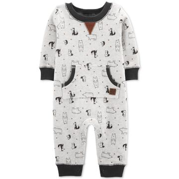 Baby Boys Bear-Print Fleece Jumpsuit
