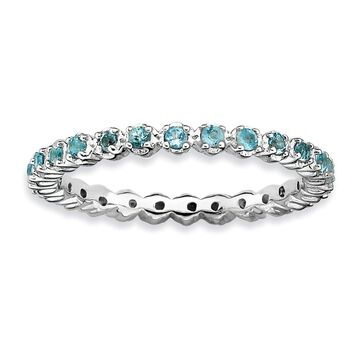 Versil Sterling Silver Blue Topaz Ring