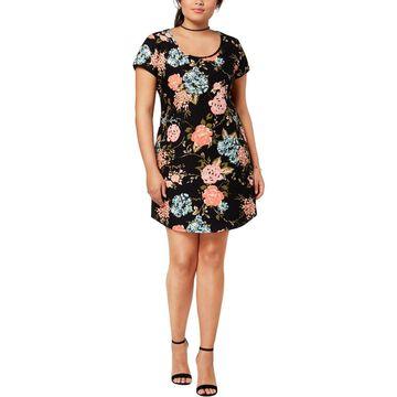 Planet Gold Womens Plus Kylie Floral Daytime Mini Dress