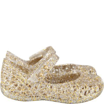 Melissa Gold Ballerina Flats For Girl With Pearls