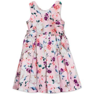 Toddler Girls Floral-Print Pleated Dress