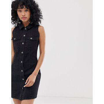 Noisy May button front sleeveless denim mini dress in black