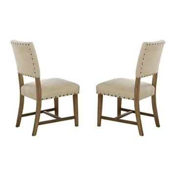 Homelegance Veltry Dining Chairs w/ Nail Head Accent, Set of 2, Beige