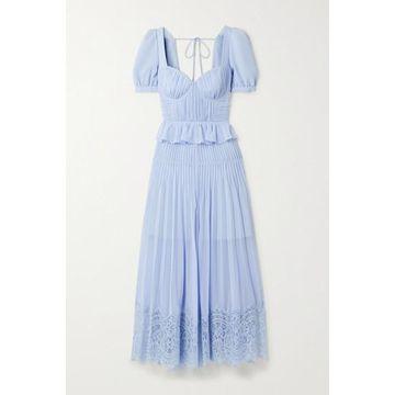 Self-Portrait - Corded Lace-trimmed Plisse-chiffon Midi Dress - Blue