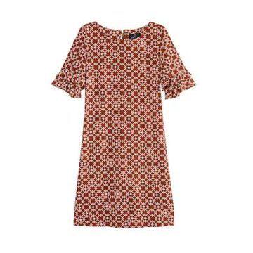 Ronni Nicole Women's Double Ruffle Sleeve Geometric Shift Dress -