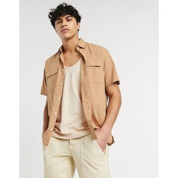 Selected Homme organic cotton oversized short sleeve utility shirt in taupe-Beige
