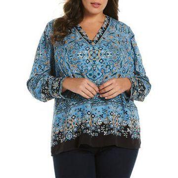 Rafaella Women's Plus Size Twill V-Neck Top - -