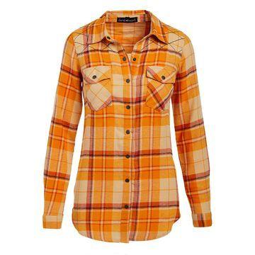 Derek Heart Women's Button Down Shirts BEIGE - Beige Latte Plaid Flannel Button-Up - Juniors