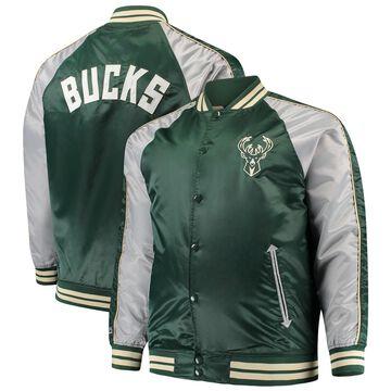 Men's Majestic Hunter Green Milwaukee Bucks Big & Tall Lightweight Satin Full-Snap Jacket