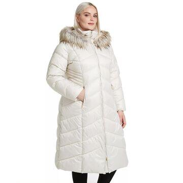 Plus Size Gallery Faux-Fur Hood Long Puffer Coat