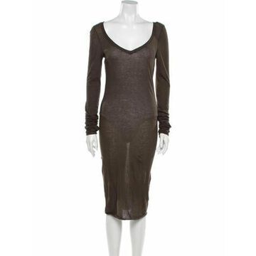 V-Neck Midi Length Dress w/ Tags Green