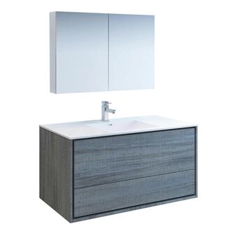 Fresca Senza 48-in Ocean Gray Single Sink Bathroom Vanity with White Acrylic Top (Faucet Included) | FVN9248OG