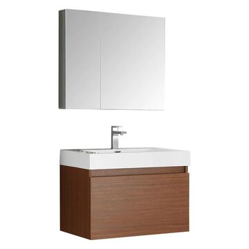 Fresca Mezzo 30-in Teak Single Sink Bathroom Vanity with White Acrylic Top (Faucet Included) in Brown | FVN8007TK