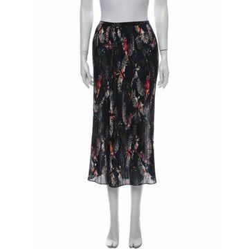 Floral Print Midi Length Skirt Blue