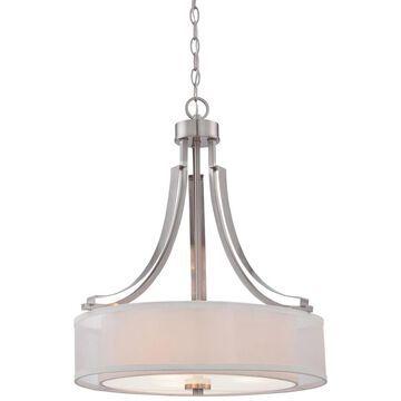 Minka Lavery Parsons Studio Brushed Nickel Modern/Contemporary Clear Glass Drum Medium (10-22-in) Pendant Light | 4104-84