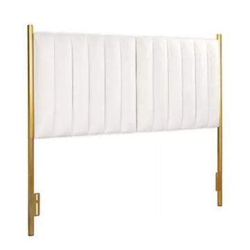 LumiSource Chloe Queen Velvet Upholstered Headboard in Cream/Gold