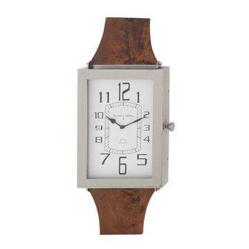 Decmode Modern Mango Wood and Stainless Steel Rectangular Wall Clock, Brown