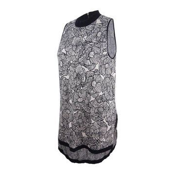 Anne Klein Women's Floral Tunic Sweater - Black/Oyster Shell - XL
