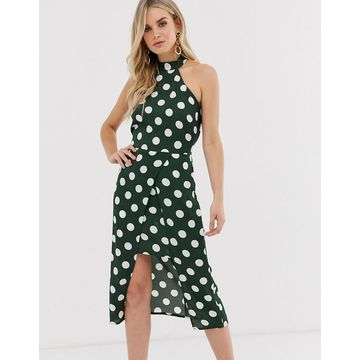 AX Paris polka dot midi dress-Green