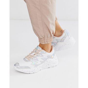 Bershka metallic mix chunky sneakers in white