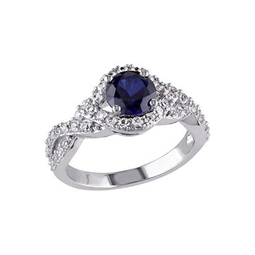 Modern Bride Gemstone Womens Lab Created Blue Sapphire Engagement Ring