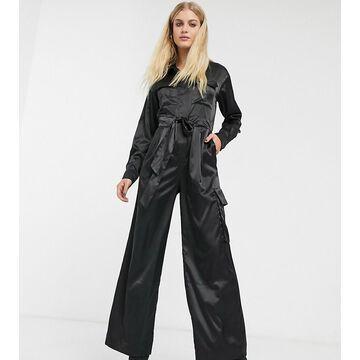 Monki satin utility jumpsuit in black