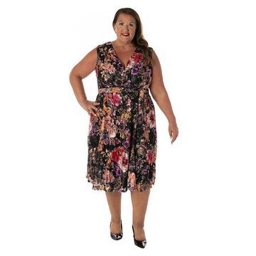 Plus Size Gabby Skye Print V-Neck Faux-Wrap Dress, Women's, Size: 14 W, Multicolor