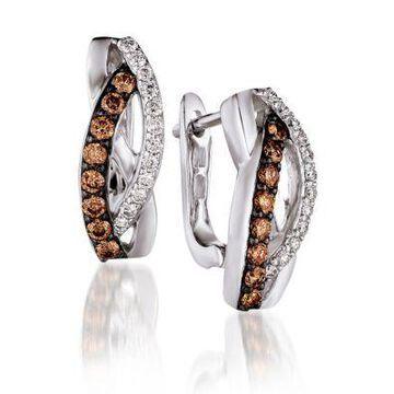 Women Le Vian Chocolatier Chocolate Diamonds And Vanilla Diamond Earrings Set In 14K Vanilla Gold