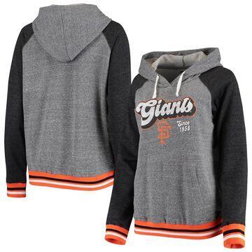 San Francisco Giants 5th & Ocean by New Era Women's Striped Fleece Raglan Tri-Blend Pullover Hoodie Heathered Gray